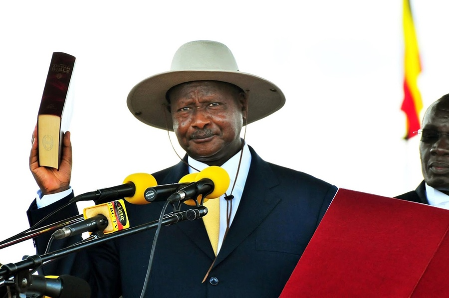 Museveni swearing in as president of Uganda for the fifth term in 2016.